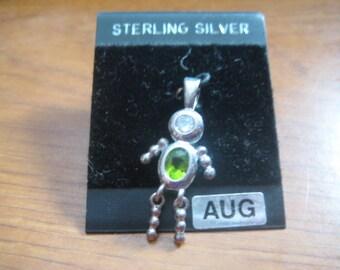 Sterling Silver Peridot White Sapphire Boy Charm for August Sooo Cute
