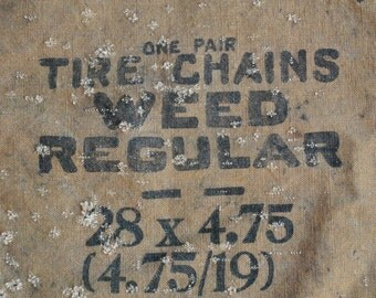 vintage c. 1920s American Chain Company Weed Tire Chains fabric pouch or sack, advertising