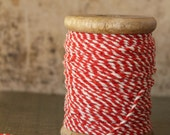 NEW! Red and Cream Heavy Striped String - 54 Yards Vintage Style Bakers Twine - Wood Spool Chunky Striped Packaging Twine