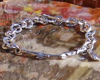 Artisan Sterling Silver Heart Bar Round Link Handcrafted Bracelet