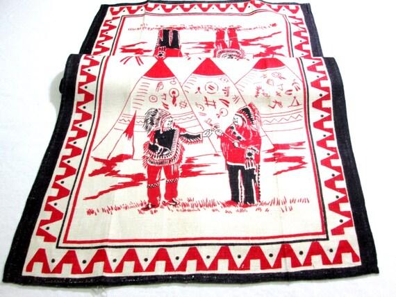 Vintage Linen Kitchen Tea Towel Native American Indians