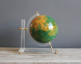 Vintage Globe on Lucite & Brass Base