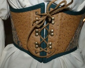 Steampunk Victorian Style Pirate Renaissance Boot Lace Cincher in GOLD & PEACOCK BLUE