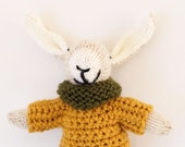 Jeffry a handmade knitted bunny rabbit soft children's toy wearing crochet mustard sweater and green cowl, hand knitted toys, toy bunny
