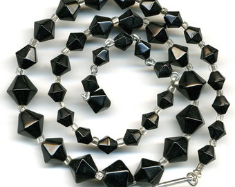 "Vintage Black Bead Necklace Six Sided Graduated Bicone Shape 17"" Long"