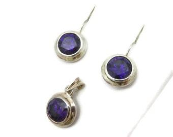 Sterling Silver Earrings and Pendant Set - Amethyst Purple Glass
