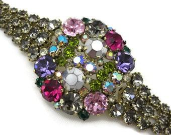 Colorful Rhinestone Bracelet - Vintage Large Chunky Statement Piece Costume Jewelry