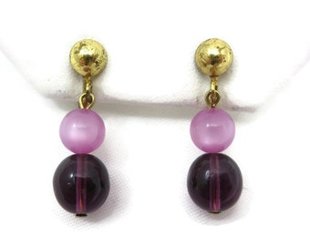 Lavender Moonglow Earrings - Purple Amethyst Glass Screwbacks Short Dangles