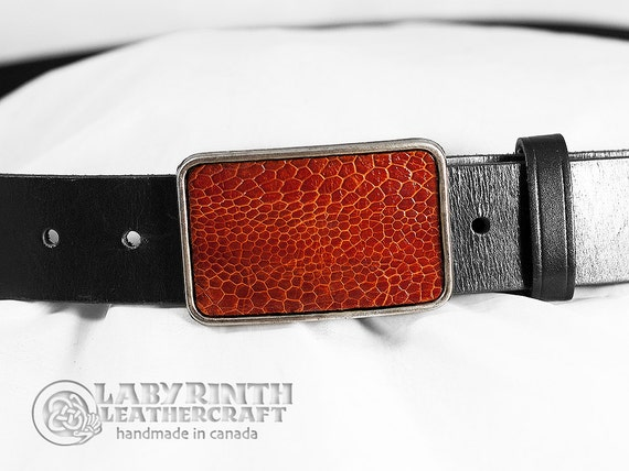 Belt Buckle - Ostrich Skin - Leather Insert Belt Buckle