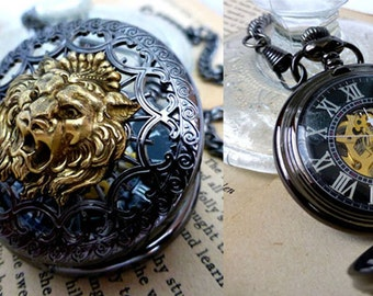 Mens Pocket Watch,  Lion Steampunk Mechanical Watch - Majestic Lion Skeleton Watch Gift for Him - Travel Wedding Birthday Anniversary Cadeau