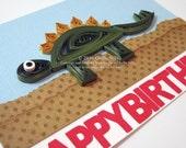 Paper Quilled Dinosaur Birthday Card, Stegosaurus, Ready to ship