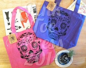 Day of the Dead Sugar Skull Tote Bag Bright Colorful Canvas