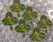 6 Vintage Germany Paper Scraps Lithographed Die Cut Saint Patricks Day Shamrock Girl 1930s