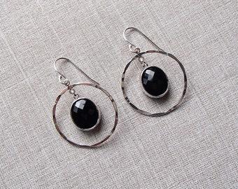 Sterling Silver Hammered Loop Earrings with Black Pendant