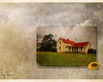Red Roof Vacancy - (Rural - country - abandoned - vacant - farm house - Wall Decor)