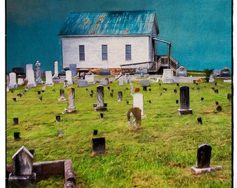 Amazing Grace (Old country church - Cemetery - Watercolor - Fine Art Print - Green  - Blue - Rual)