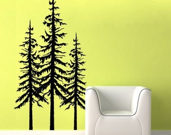 Tree wall decal - pine tree decal - large set of three - Woodland Theme Decals - Woodland Nursery Decor - Baby Nursery Decor