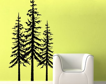 Pine tree wall decal - custom color - pine tree decal - large set of three