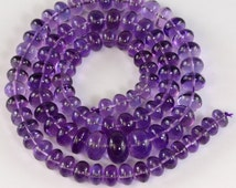 6.5mm to 10.5mm Grape Amethyst Smooth Rondelle Bead 17.7 inch strand