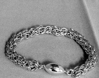 Spiraling Vine Sterling Silver Chain mail Bracelet