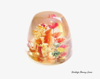 Vintage Resin Paperweight, Bright Dried Flowers Figurine