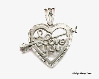 Vintage Sterling Silver I Love You Pendant / Charm