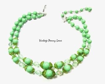 Vintage Bead Necklace, Double Strand Green Glass