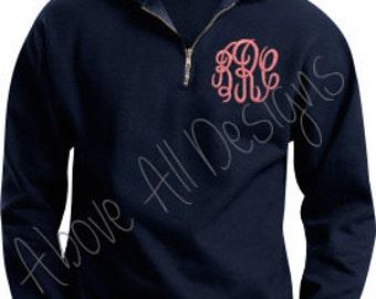 SALE - MONOGRAMMED Quarter Zip Sweatshirt Pullover - 1/4 Zip