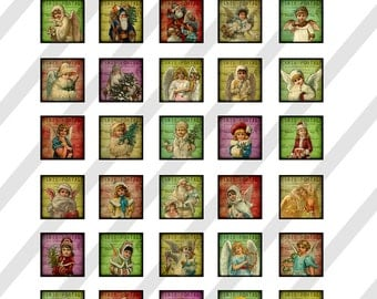 Christmas Digital Collage Sheet  1X1 inch  Victorian Christmas  (Sheet no.O233) Instant Download