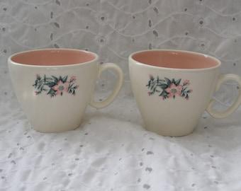 Pair of Vintage Floral Cups ~Teacups Pink Coffee Mugs