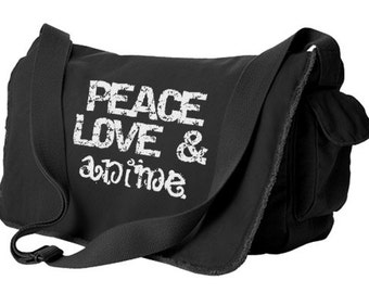 Peace Love Anime Messenger Bag anime laptop bag otaku school bag soft durable cotton canvas crossbody tote