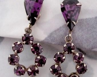vintage prong set machine cut crystal amethyst purple rhinestone drop earrings - j5615