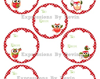 Instant Download ~ Printable Owl Christmas To and From Gift tag 3inch circles