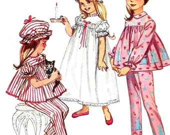 Children's Nightgown Pattern Pajamas Cap 1960s Child's Simplicity Sewing Vintage Uncut Toddler Size 2