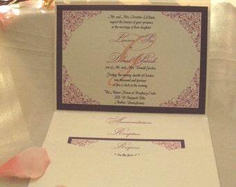 Custom Pocket Fold Wedding Invitation (Sample)