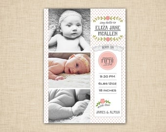Shabby Chic Baby Birth Announcement - pink dots
