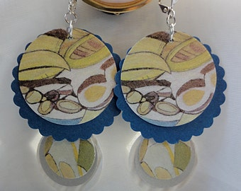 Paper Earrings featuring the art of Judy Fox