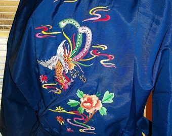 NOS Daffodil Label Vintage 60s Dragon Asian Blue Dacron Embroidered Robe M