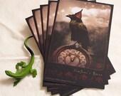 "5 POSTCARDS - ""New Year's Raven"" 4 x 6 matte finish"