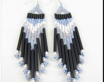 Native American Indian Style Beadwork Seed Bead Earrings Blue, Black, Gray and White