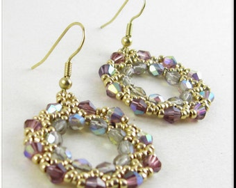 Hoop Earrings Purple and Gold Seed Bead Beadwork