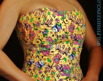 Steel Boned Corset Bodice Skulls Tattoo Theme