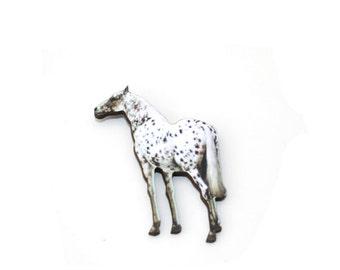 Appaloosa Horse Brooch, Wooden Pony Brooch, Horse Illustration, Animal Brooch, Wood Jewelry