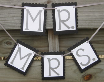 Mr. and Mrs. Banners in Silver and Black - Wedding Photo Prop or Chair Signs