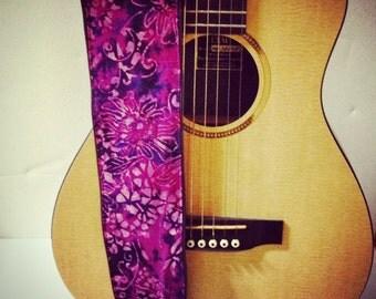 Vegan Guitar Strap- Plum Blossom-LIMITED pattern-plum, purple, flowers, batik