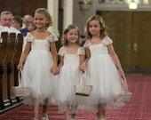Magic Orchid Ivory flower girl dress French lace and silk tulle dress ivory tutu flower girl dress