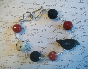 Black and Red Handwired Silver Beaded Bracelet with Humblebeads Raven