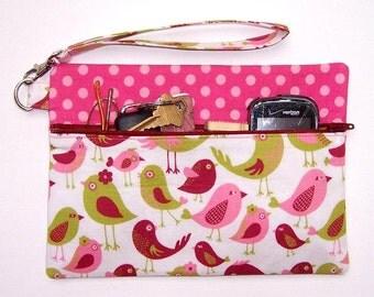 Pink Green Birds Wristlet, Pink Polka Dot Clutch Wallet, Zippered Makeup Bag, Small Bird Print Purse