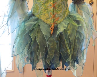 DDNJ Choose Colors Fairy Skirt  Pixie Sprite Costume Kawaii Anime Plus Custom Made ANY Size Renaissance Lolita Medieval Faerie Elvin Elf