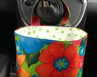 Beth's Lime Green London Oilcloth Car Trash Bag Receptacle